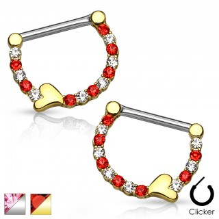 Set of nipple piercing clicker hearts and gems