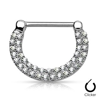 Nipple bar clicker with crystalised rows