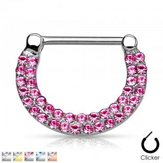 Nipple piercing clicker crystal lines