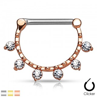 Nipple bar clicker with dangling jewels