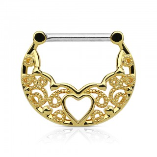 Nipple piercing clicker with filigree and heart