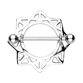 Nipple barbell with eight sides on star