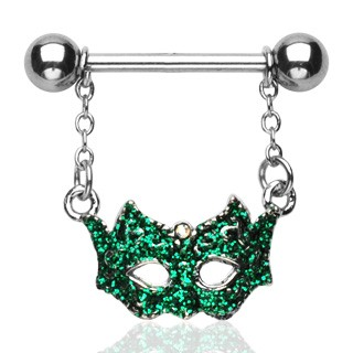 Nipple bar with green masked ball mask
