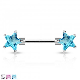 Nipple jewelry with double coloured stars