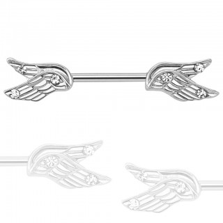 Nipple bar with split angel wings