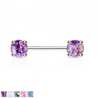 Nipple barbell with front facing lava glitter stones