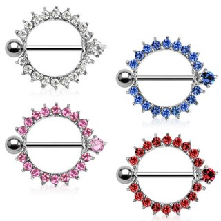 Nipple barbell with circle of coloured crystals