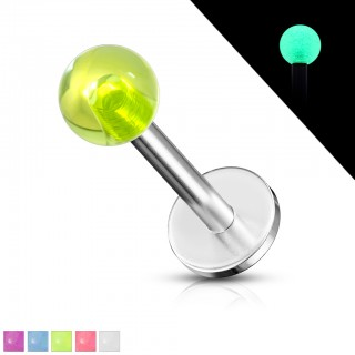 Labret met glow in the dark balletje