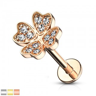 Internally threaded labret piercing with crystalised four jeweled shamrock