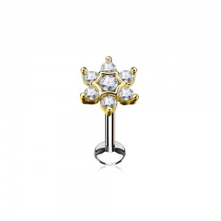 Internally threaded labret stud with bejewelled flower