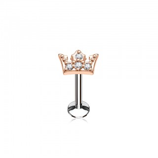 Labret with top of coloured crown with clear crystals
