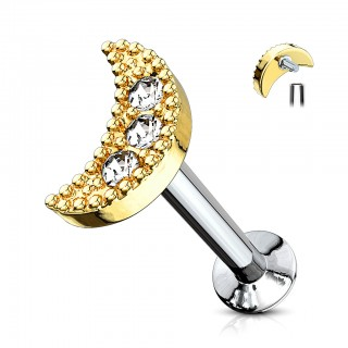 Labret stud with clear jeweled crescent top