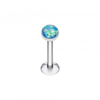 Labret with coloured glitter opal stone
