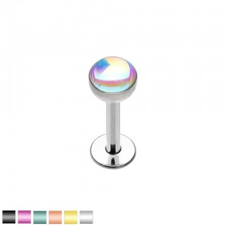 Coloured labret with synthetic moonstone top