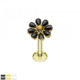 Coloured labret with coloured spring flower top
