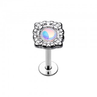 Coloured labret with coloured stone decorated top