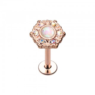 Rose gold labret with white opal stone and rainbow crystals