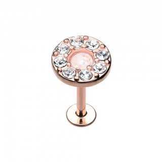 Rose gold labret with white opal stone and clear crystals