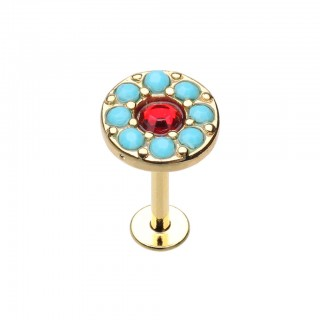 Gold labret with red crystal and turquoise stones