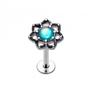 Labret with lotus flower and aqua opal stone