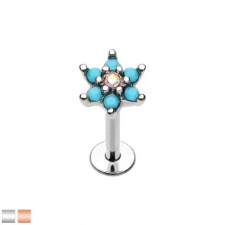 Coloured labret with 6 petals of turquoise stones