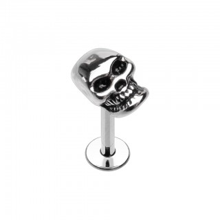 Coloured standard threaded labret with skull head top