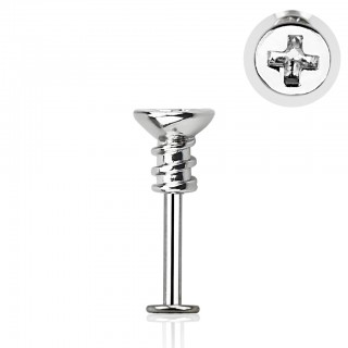Labret with cross screw top and 2.5 mm base
