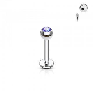 Labret stud with press-fit jewel