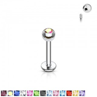 Threadless silver labret piercing with jewel