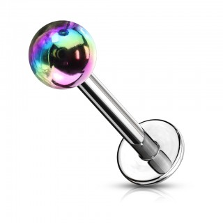 Surgical steel labret with metalic coloured ball