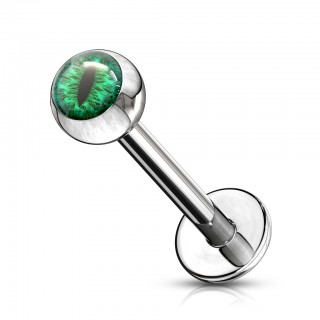 Labret with coloured snake eye inlay ball