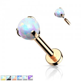 Internally threaded Labret Piercing with Claw set Opal
