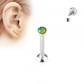Steel internally screwed labret stud with coloured opal