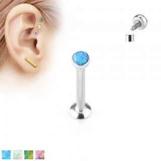 Steel internally screwed labret with coloured opal