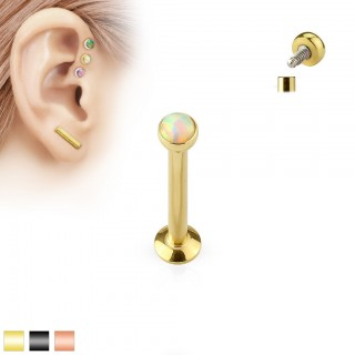 Coloured internally screwed labret stud with white/rainbow opal