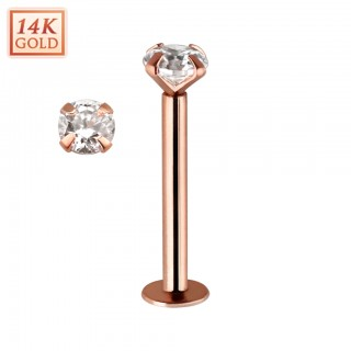 Solid 14 kt. rose gold labret with clear crystal