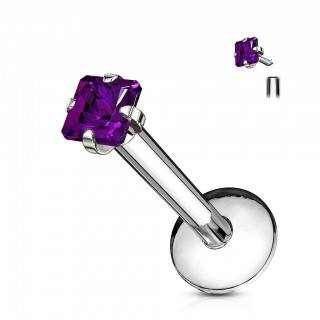 Internally threaded labret stud with flat square crystal