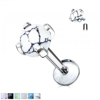Internally threaded labret with prong set gemstone