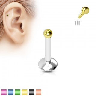 Internally threaded silver labret with alloyed ball