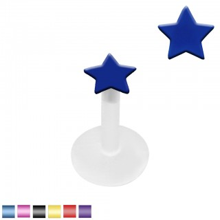 Clear bioflex labret with star shaped coloured top