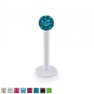 Bioflex labret with coloured ferido crystal ball