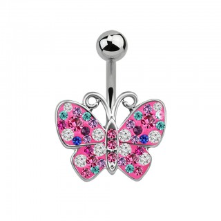 Belly bar with pink butterfly and coloured crystals