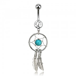 Belly bar with dangling dreamcatcher with turquoise stone