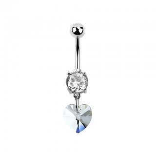 Belly bar with crystals and swarovski heart crystal drop