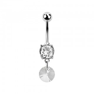 Belly bar with crystals and swarovski round crystal drop
