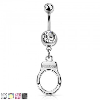 Belly bar with coloured crystal and dangling handcuff