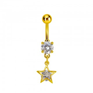 Gold belly ring with dangling star with crystal