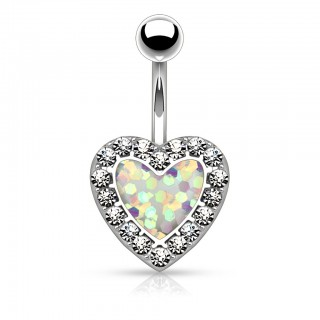Belly ring with heart of fake opal surrounded by crystals