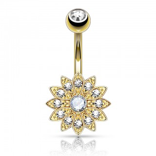 Petite crystalised floral belly bar with gem encased centre