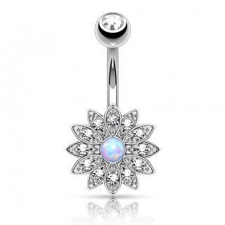 Fashionable belly bar with flower and opal gem